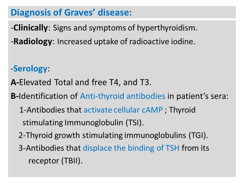 Diagnosis of Graves' disease: -Clinically: Signs and symptoms of hyperthyroidism.