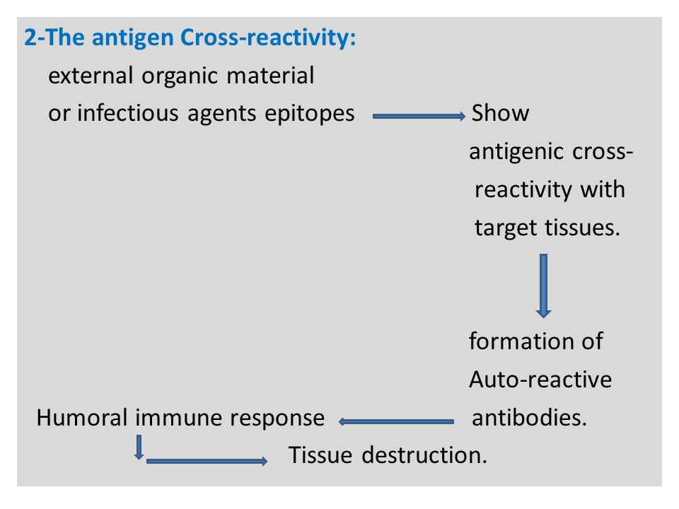 N 2-The antigen Cross-reactivity: external organic material or infectious agents epitopes Show antigenic cross- reactivity with target tissues.
