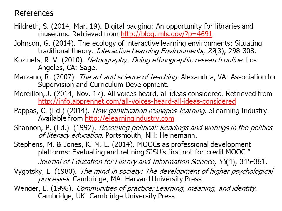 References Hildreth, S. (2014, Mar. 19).