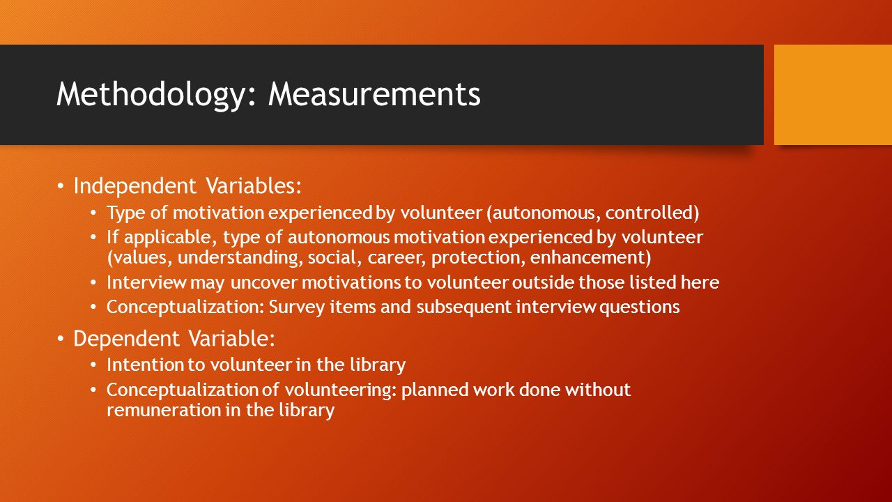 research proposal motivating volunteers elizabeth karges lis 10 methodology measurements