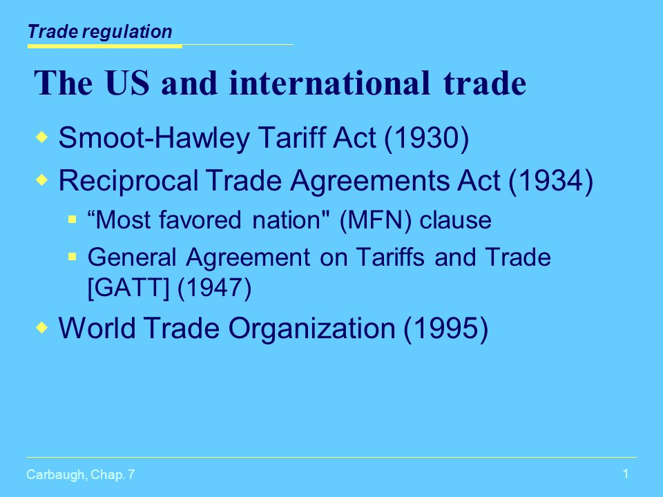 Carbaugh Chap 7 1 The Us And International Trade Smoot Hawley