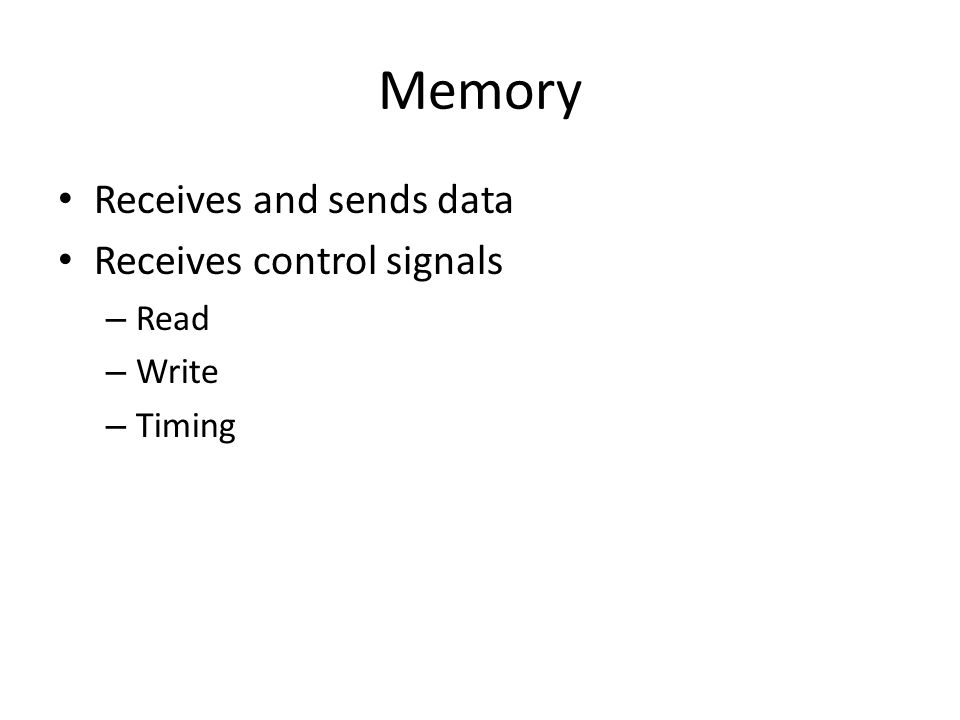 Memory Receives and sends data Receives control signals – Read – Write – Timing