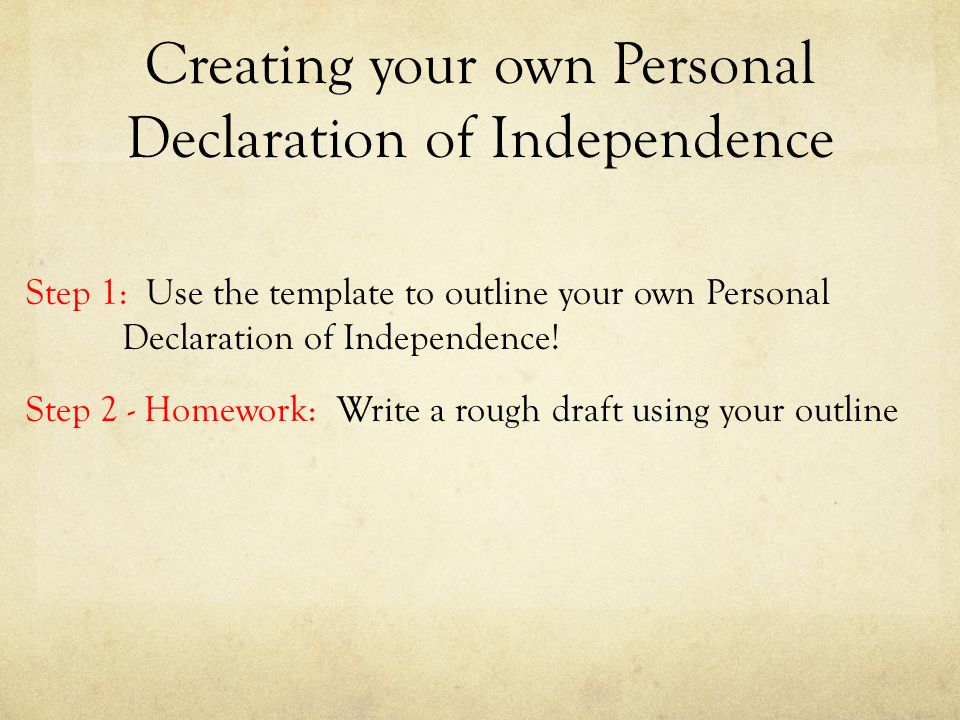 personal declaration of independance
