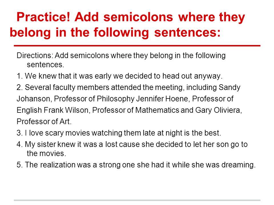Image Gallery semicolon practice – Semicolon Practice Worksheets