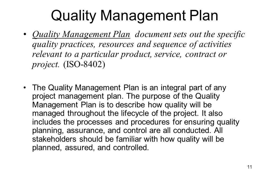 Lecture  Project Quality Management Quality Management Plan