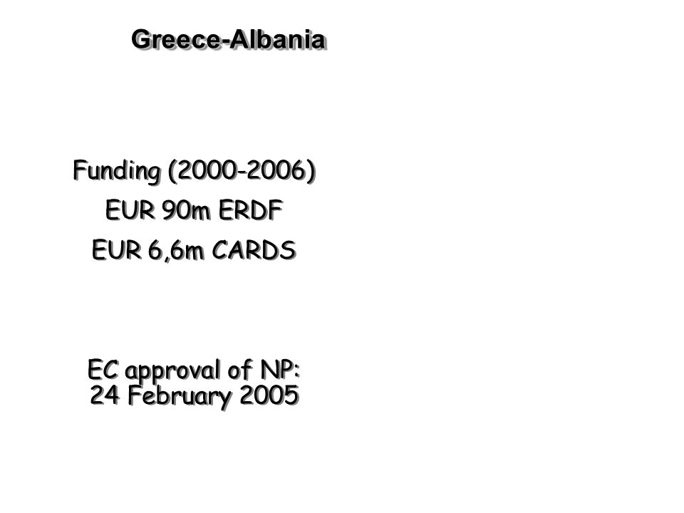 Greece-AlbaniaGreece-Albania Funding ( ) EUR 90m ERDF EUR 6,6m CARDS EC approval of NP: 24 February 2005 Funding ( ) EUR 90m ERDF EUR 6,6m CARDS EC approval of NP: 24 February 2005