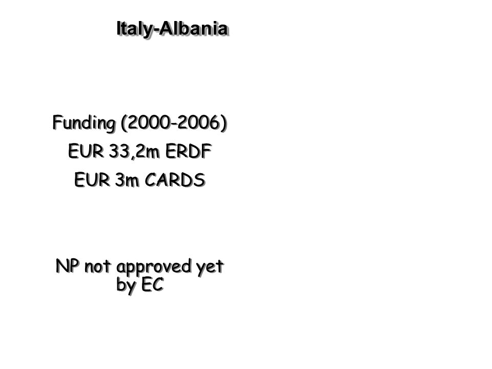 Italy-AlbaniaItaly-Albania Funding ( ) EUR 33,2m ERDF EUR 3m CARDS NP not approved yet by EC Funding ( ) EUR 33,2m ERDF EUR 3m CARDS NP not approved yet by EC