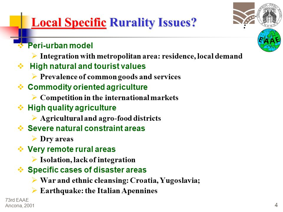 73rd EAAE Ancona, Local Specific Rurality Issues.