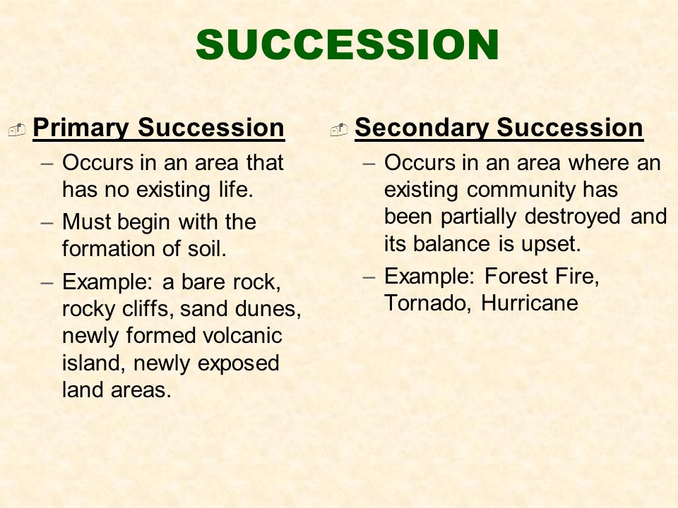 SUCCESSION  Primary Succession –Occurs in an area that has no existing life.