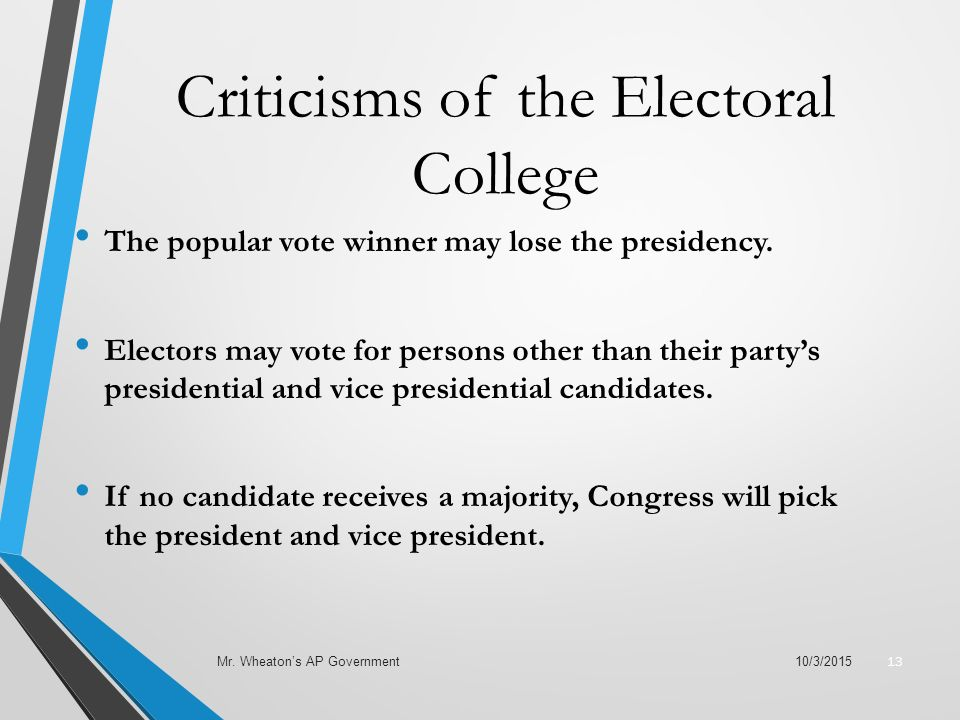 Criticisms of the Electoral College The popular vote winner may lose the presidency.