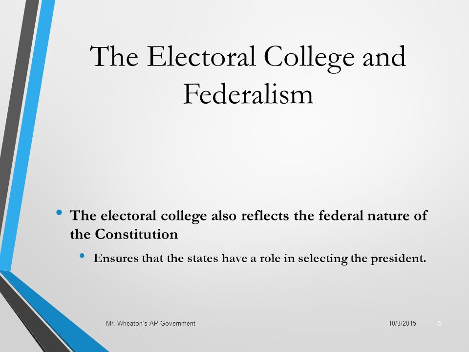 The Electoral College and Federalism The electoral college also reflects the federal nature of the Constitution Ensures that the states have a role in selecting the president.