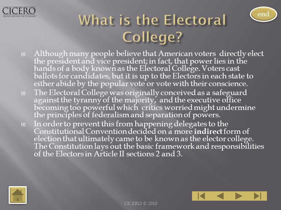  Although many people believe that American voters directly elect the president and vice president; in fact, that power lies in the hands of a body known as the Electoral College.
