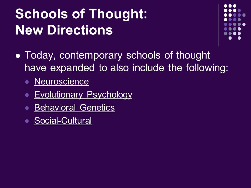 schools of thought Here is an interesting table comparing 9 schools of economic thought.