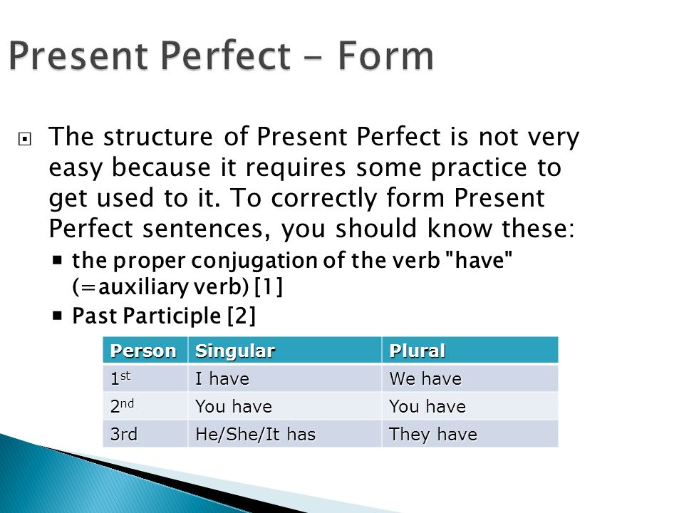 Present Perfect - Form  The structure of Present Perfect is not very easy because it requires some practice to get used to it.