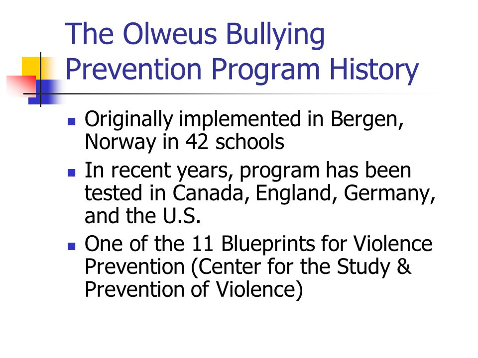The olweus bullying prevention program fleetwood middle school the olweus bullying prevention program history originally implemented in bergen norway in 42 schools in malvernweather Choice Image