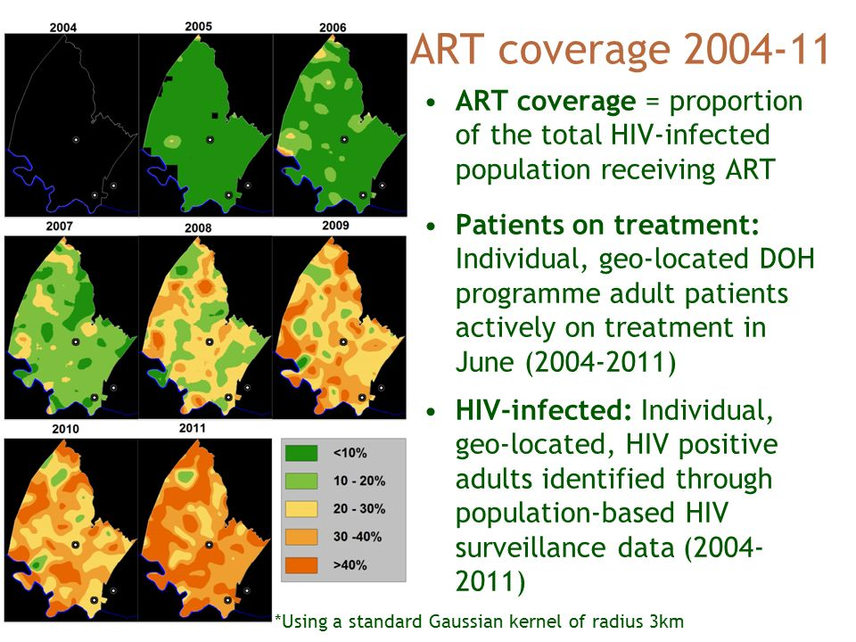 ART coverage *Using a standard Gaussian kernel of radius 3km ART coverage = proportion of the total HIV-infected population receiving ART Patients on treatment: Individual, geo-located DOH programme adult patients actively on treatment in June ( ) HIV-infected: Individual, geo-located, HIV positive adults identified through population-based HIV surveillance data ( )