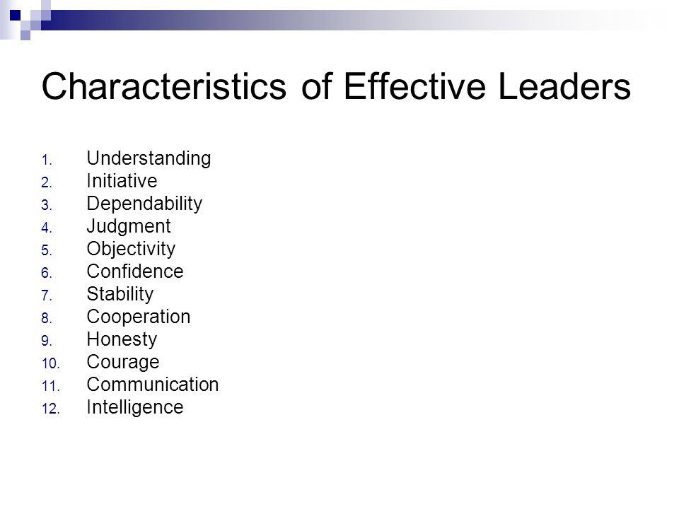 Characteristics of Effective Leaders 1. Understanding 2. Initiative 3. Dependability 4. Judgment 5. Objectivity 6. Confidence 7. Stability 8. Cooperat