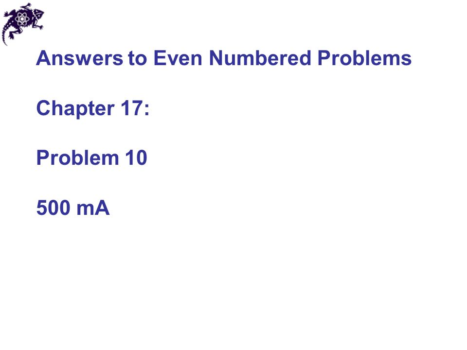 Answers to Even Numbered Problems Chapter 17: Problem mA