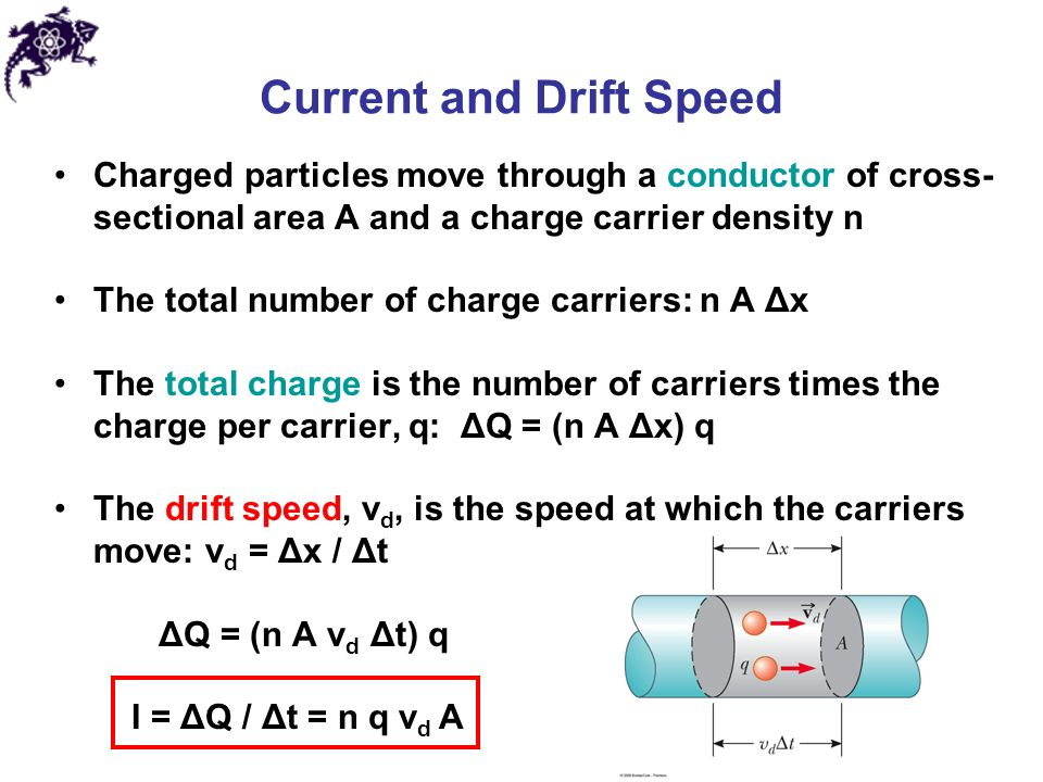 Current and Drift Speed Charged particles move through a conductor of cross- sectional area A and a charge carrier density n The total number of charge carriers: n A Δx The total charge is the number of carriers times the charge per carrier, q: ΔQ = (n A Δx) q The drift speed, v d, is the speed at which the carriers move: v d = Δx / Δt ΔQ = (n A v d Δt) q I = ΔQ / Δt = n q v d A