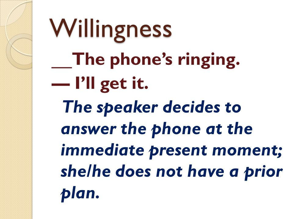 Willingness __The phone's ringing. — I'll get it.