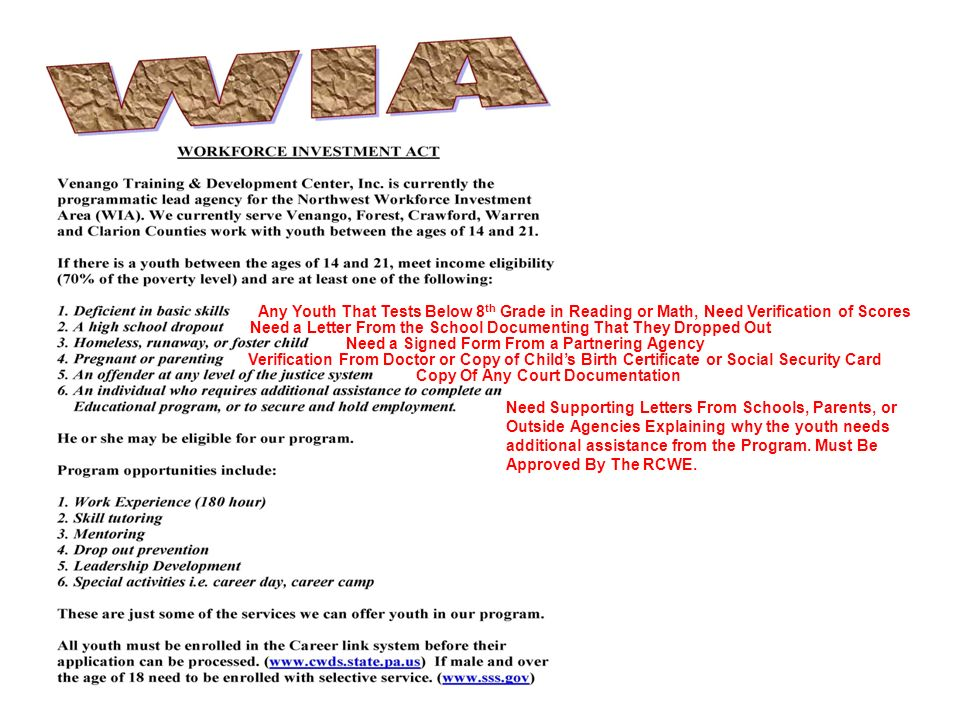 WIA & TANF APPLICATION REQUIREMENTS. Any Youth That Tests Below 8 ...