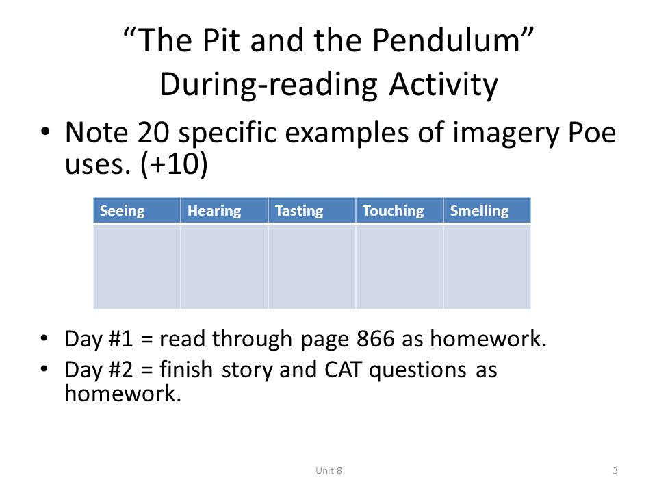 Critical essay on the pit and the pendulum