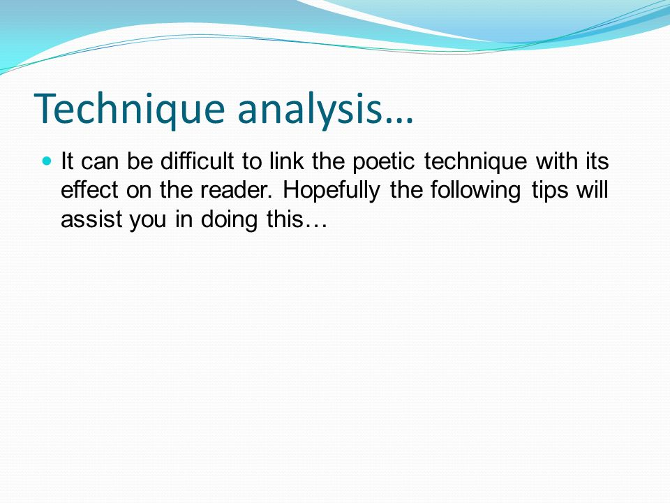 poem analysis essay structure How to analyze a poem  1 structure 6 sound and rhythm (combine) the separate parts of your analysis into one main idea--your idea about what.