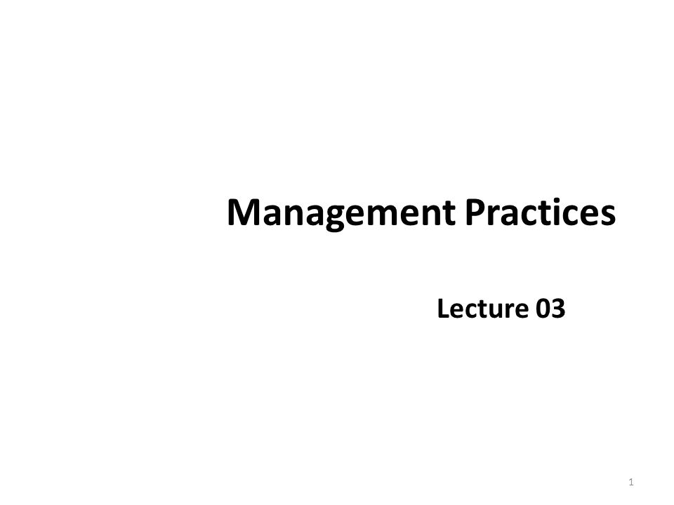 Management Practices Lecture 03 1