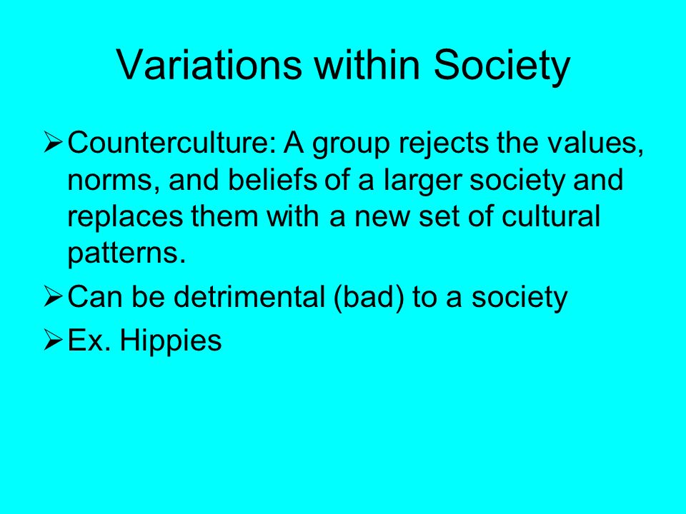 Variations within Society  Counterculture: A group rejects the values, norms, and beliefs of a larger society and replaces them with a new set of cultural patterns.
