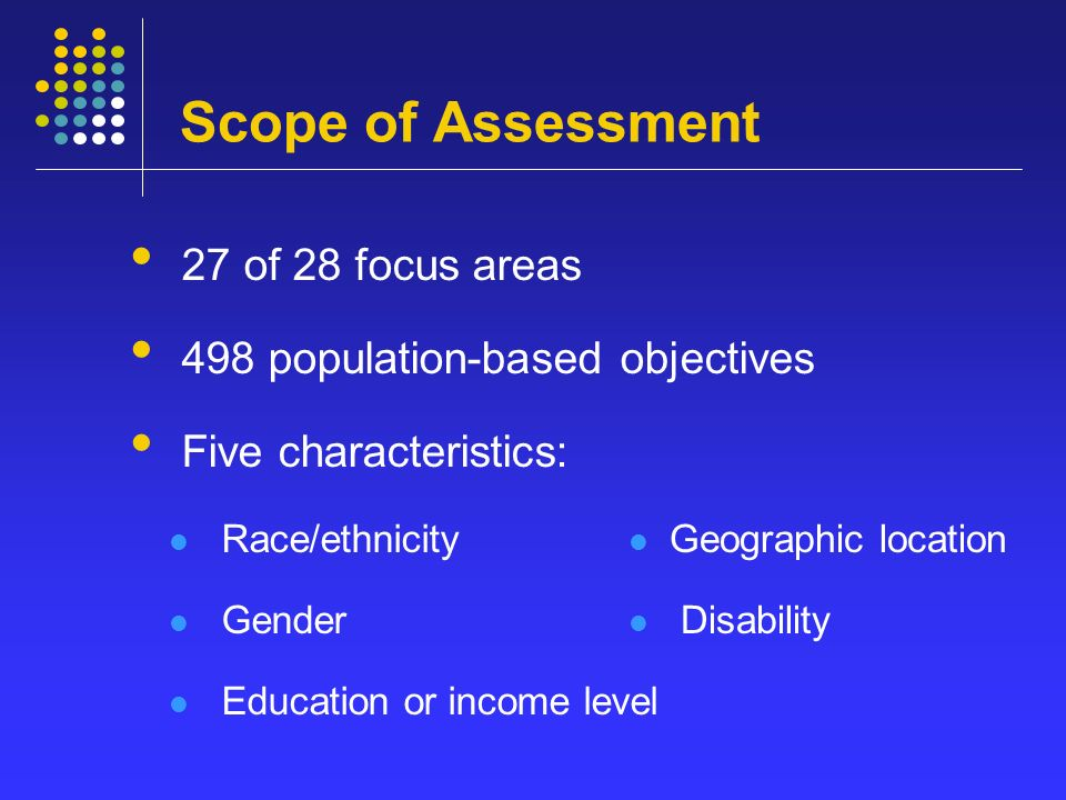 Scope of Assessment 27 of 28 focus areas 498 population-based objectives Five characteristics: Race/ethnicity Gender Education or income level Geographic location Disability
