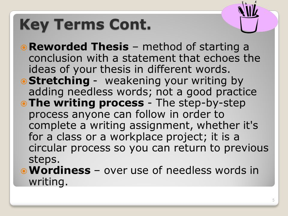 Thesis starter words