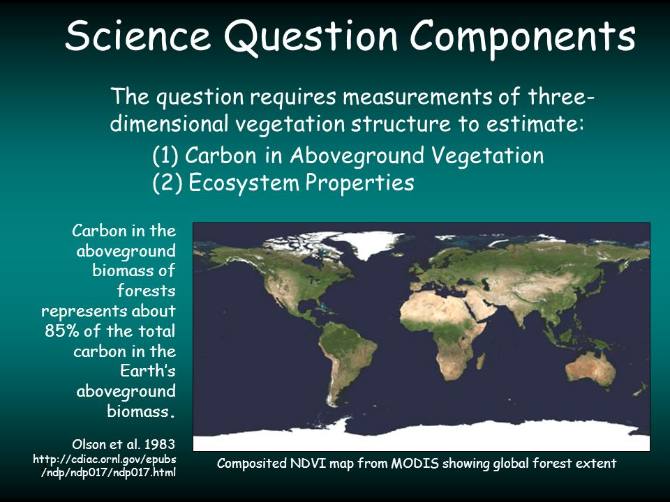 4 Science Question Components Carbon in the aboveground biomass of forests represents about 85% of the total carbon in the Earth's aboveground biomass.