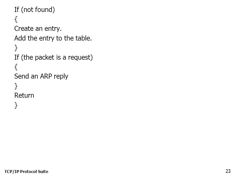 If (not found) { Create an entry. Add the entry to the table.