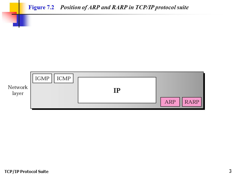 TCP/IP Protocol Suite 3 Figure 7.2 Position of ARP and RARP in TCP/IP protocol suite
