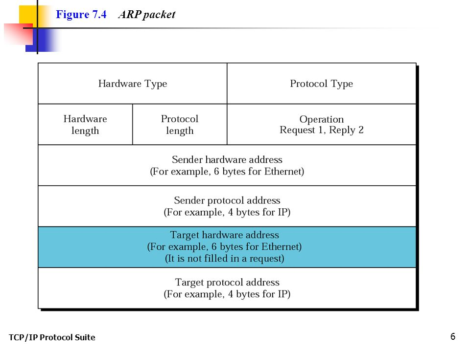 TCP/IP Protocol Suite 6 Figure 7.4 ARP packet