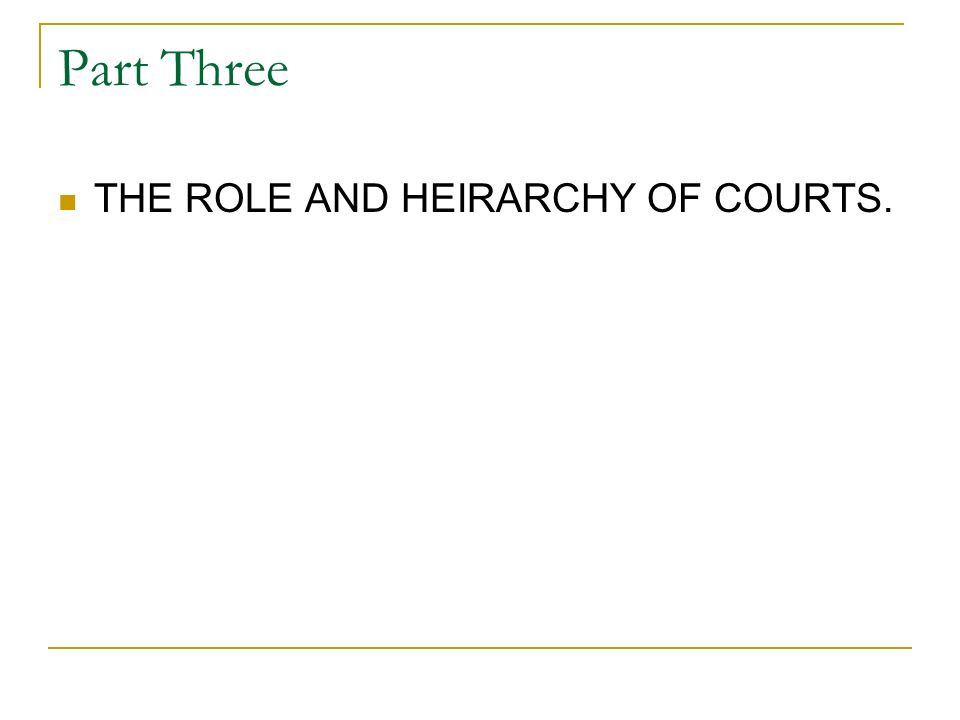 Part Three THE ROLE AND HEIRARCHY OF COURTS.
