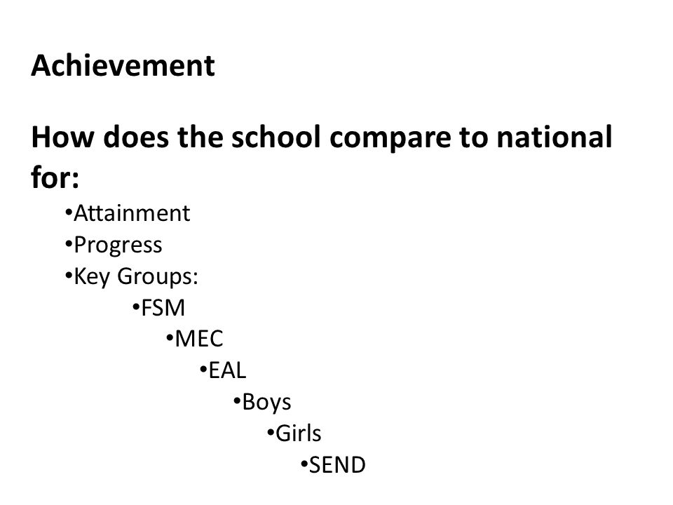 Achievement How does the school compare to national for: Attainment Progress Key Groups: FSM MEC EAL Boys Girls SEND