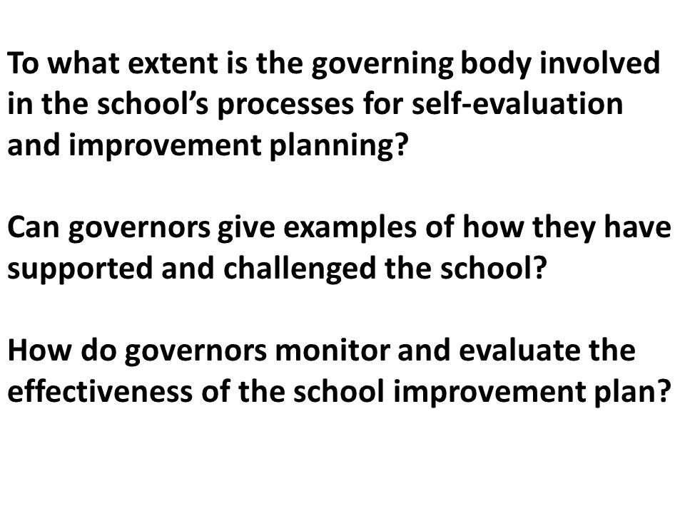 To what extent is the governing body involved in the school's processes for self-evaluation and improvement planning.