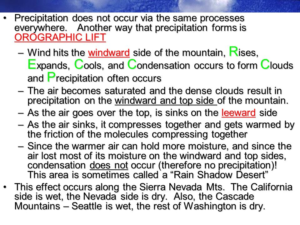 Precipitation does not occur via the same processes everywhere.