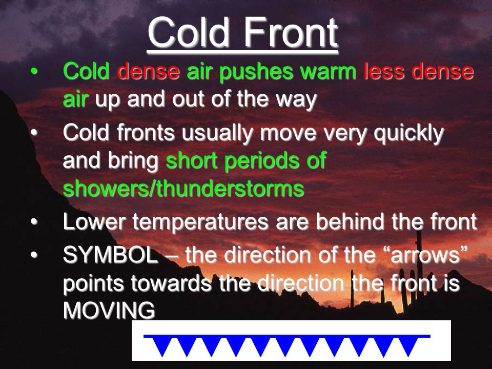 Cold Front Cold dense air pushes warm less dense air up and out of the wayCold dense air pushes warm less dense air up and out of the way Cold fronts usually move very quickly and bring short periods of showers/thunderstormsCold fronts usually move very quickly and bring short periods of showers/thunderstorms Lower temperatures are behind the frontLower temperatures are behind the front SYMBOL – the direction of the arrows points towards the direction the front is MOVINGSYMBOL – the direction of the arrows points towards the direction the front is MOVING