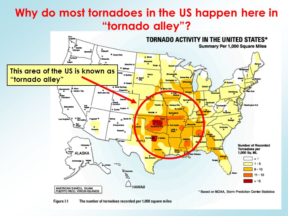 This area of the US is known as tornado alley Why do most tornadoes in the US happen here in tornado alley