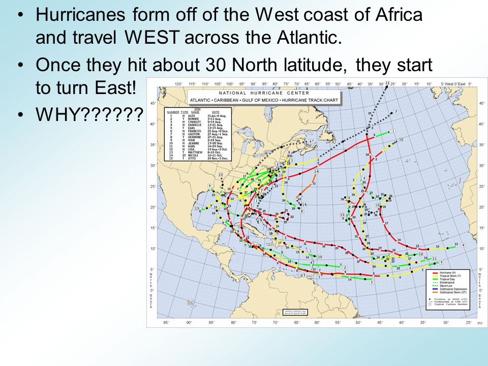 Hurricanes form off of the West coast of Africa and travel WEST across the Atlantic.