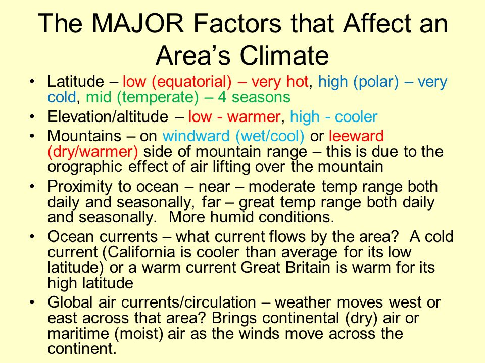 The MAJOR Factors that Affect an Area's Climate Latitude – low (equatorial) – very hot, high (polar) – very cold, mid (temperate) – 4 seasons Elevation/altitude – low - warmer, high - cooler Mountains – on windward (wet/cool) or leeward (dry/warmer) side of mountain range – this is due to the orographic effect of air lifting over the mountain Proximity to ocean – near – moderate temp range both daily and seasonally, far – great temp range both daily and seasonally.