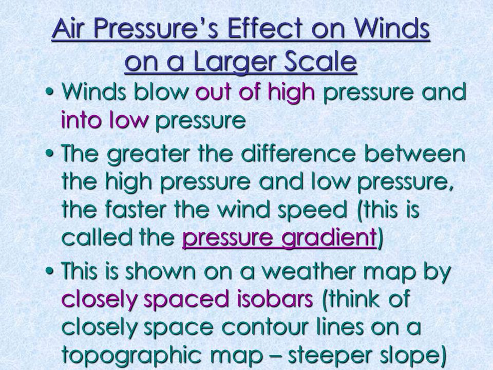 Winds blow out of high pressure and into low pressureWinds blow out of high pressure and into low pressure The greater the difference between the high pressure and low pressure, the faster the wind speed (this is called the pressure gradient)The greater the difference between the high pressure and low pressure, the faster the wind speed (this is called the pressure gradient) This is shown on a weather map by closely spaced isobars (think of closely space contour lines on a topographic map – steeper slope)This is shown on a weather map by closely spaced isobars (think of closely space contour lines on a topographic map – steeper slope) Air Pressure's Effect on Winds on a Larger Scale