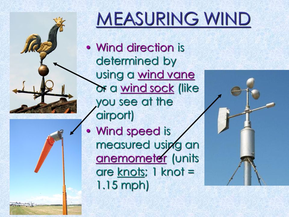 MEASURING WIND Wind direction is determined by using a wind vane or a wind sock (like you see at the airport)Wind direction is determined by using a wind vane or a wind sock (like you see at the airport) Wind speed is measured using an anemometer (units are knots; 1 knot = 1.15 mph)Wind speed is measured using an anemometer (units are knots; 1 knot = 1.15 mph)