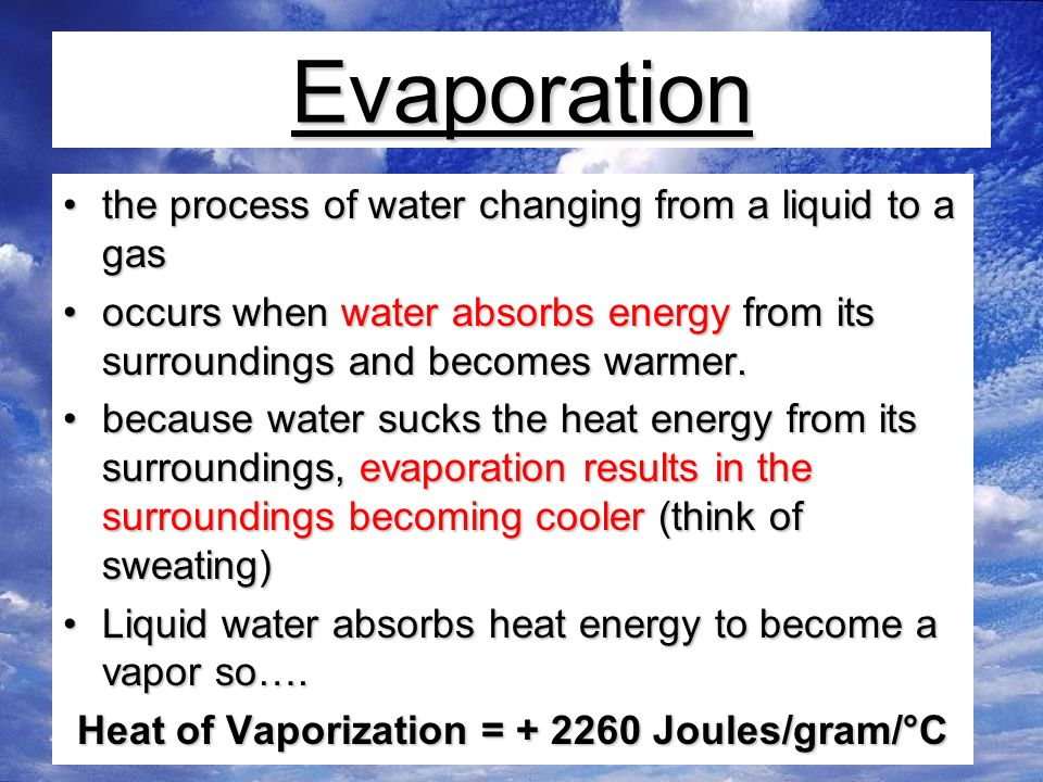 Evaporation the process of water changing from a liquid to a gasthe process of water changing from a liquid to a gas occurs when water absorbs energy from its surroundings and becomes warmer.occurs when water absorbs energy from its surroundings and becomes warmer.