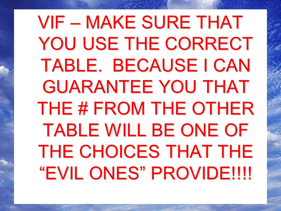 VIF – MAKE SURE THAT YOU USE THE CORRECT TABLE.