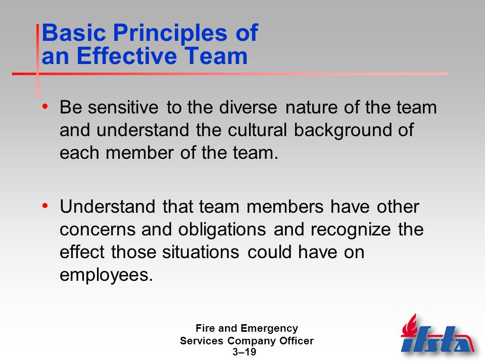 Fire and Emergency Services Company Officer 3–19 Basic Principles of an Effective Team Be sensitive to the diverse nature of the team and understand the cultural background of each member of the team.