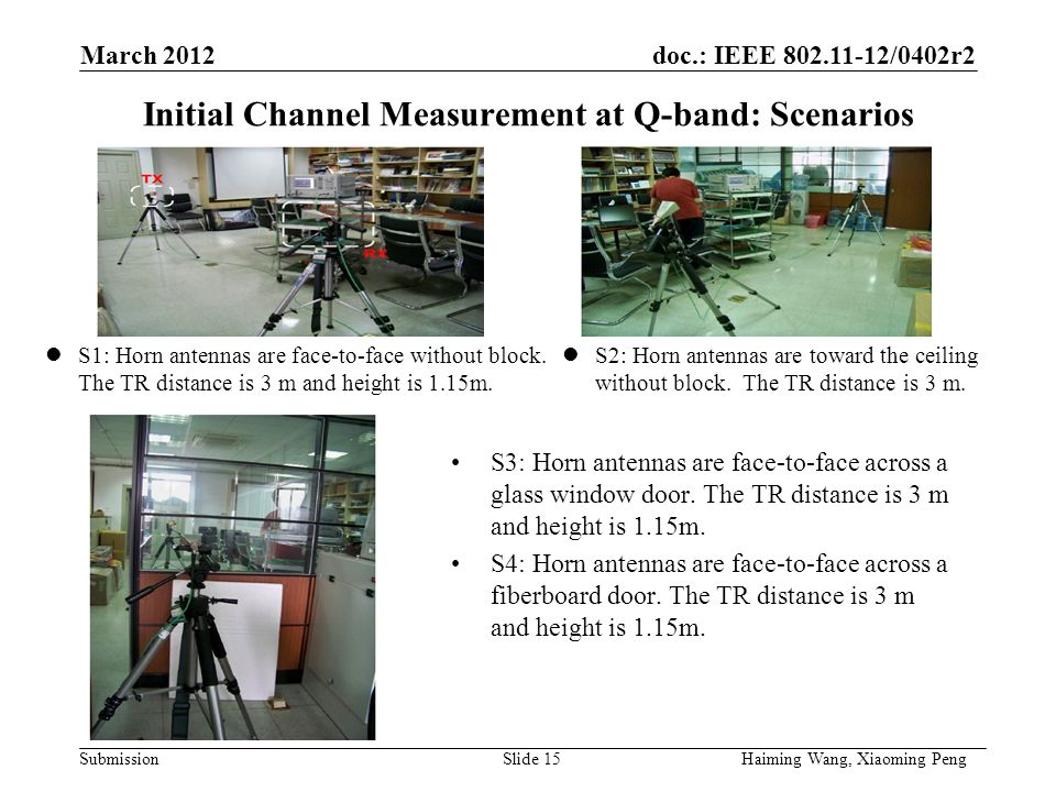 doc.: IEEE /0402r2 Submission Initial Channel Measurement at Q-band: Scenarios S1: Horn antennas are face-to-face without block.