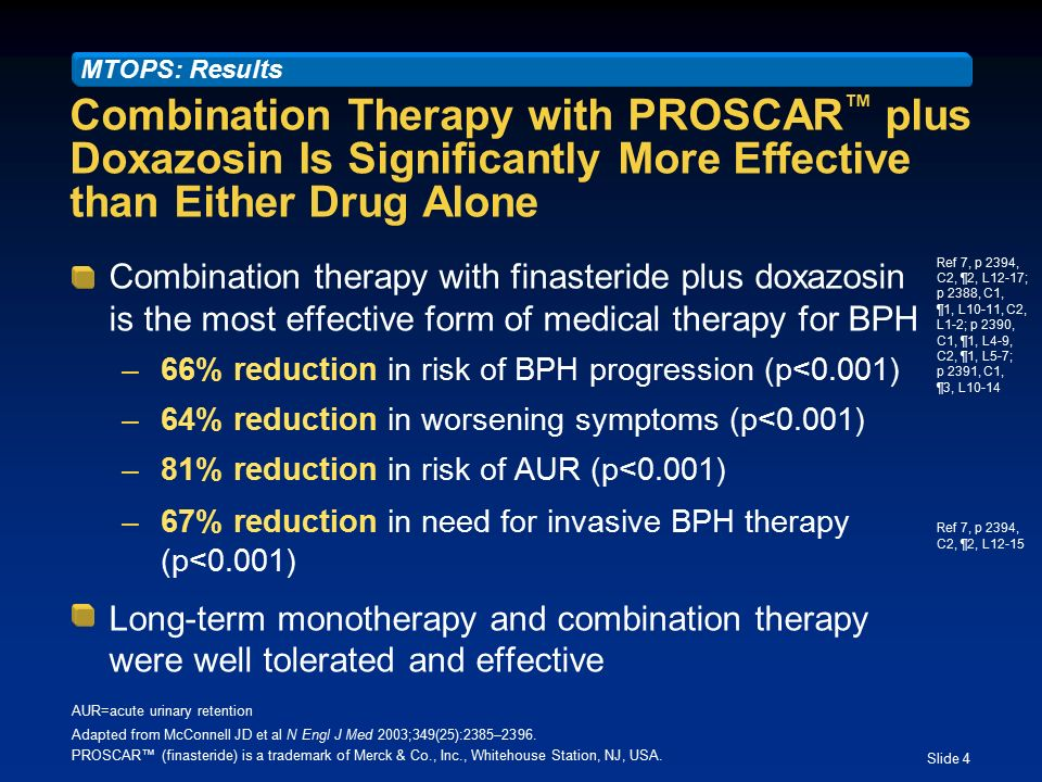 Slide 1 Effect of Combination Therapy with PROSCAR ™† (finasteride ...
